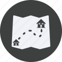 architecture, construction, distance, estate, house, property, real, real estate icon
