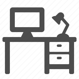 computer, desk, drawers, home, lamp, office, pc icon
