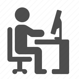chair, computer, desk, man, office, pc, working icon