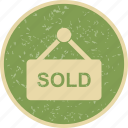 real estate, sign board, sold icon