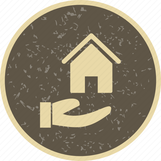 hand, house in hand, house on hand icon