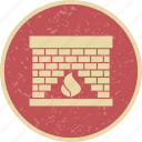 chimney, fire, flame, place icon
