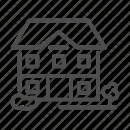 apartment, building, flower, garden, home, house icon