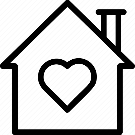 home with heart sign, house, house with heart sign, love home, lover's home icon icon