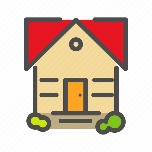 apartment, building, cabin, flower, home, house, tree icon
