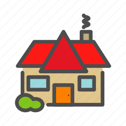 apartment, building, cabin, home, house, smoke icon