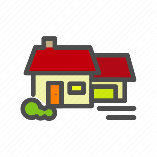 apartment, building, cabin, home, house, tree icon