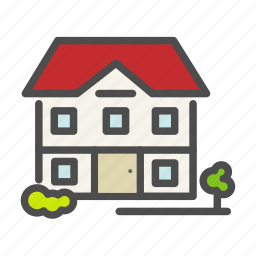 apartment, building, flower, garden, home, house icon
