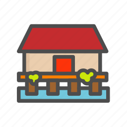 apartment, building, home, house, sea icon