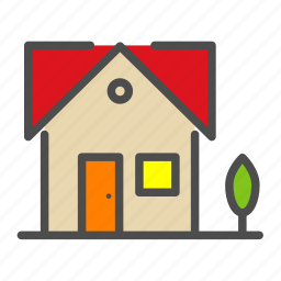 apartment, building, home, house, tree icon