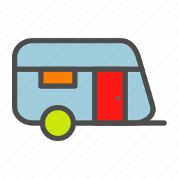 cabin, house, mobile, vehicle icon