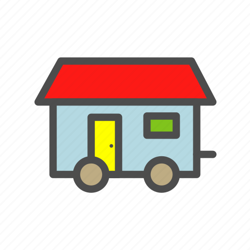 cabin, hatch, house, mobile, vehicle icon
