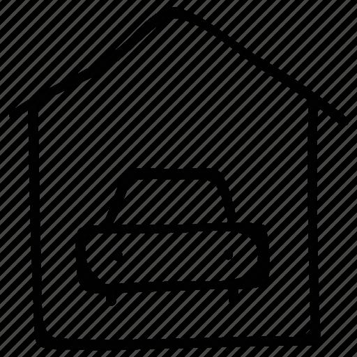 estate, garage, house, porch, real icon