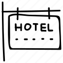 hotel, info, real estate, sign icon