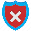 alert, antivirus, danger, fail, problem, shield, warning icon