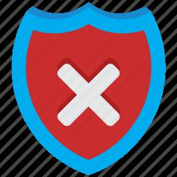 alert, antivirus, danger, fail, problem, shield, warning icon