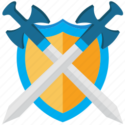 guard, protection, safety, security, shield, shield and swords, swords icon