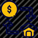bukeicon, buy, dollar, exchange, house, sell icon
