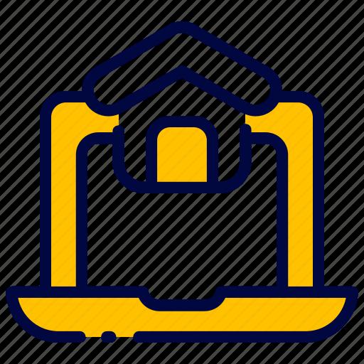 bukeicon, computer, home, house, laptop, marketplace, realestate icon