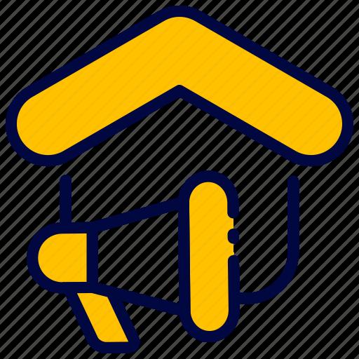 bukeicon, estate, house, marketing, megaphone, real icon
