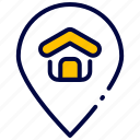 bukeicon, gps, home, house, location, pin, realestate icon