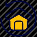 back, bukeicon, estate, house, real, return icon