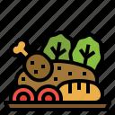 chicken, course, food, main, restaurant icon
