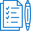 brief, checklist, document, paper, pen, planning, project icon