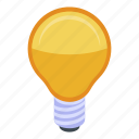 bulb, business, cartoon, eco, hand, isometric, light icon