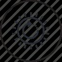 development, energy, environment, line, recycling, renewable, sun icon