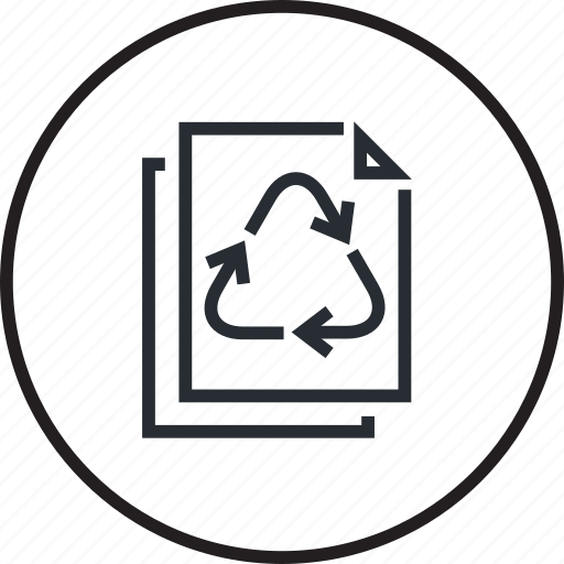 ecology, environment, line, material, paper, recycling icon