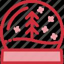 ball, christmas, glass, globe, house, snowglass, tree