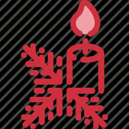candle, celebration, christmas, decoration, holiday, tree, twig icon
