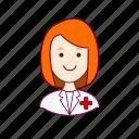 emprego, enfermeira, job, mulher, nurse, professions, redheaded woman, ruiva, trabalho, work icon