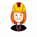 emprego, engenheira, engineer, job, mulher, professions, redheaded woman, ruiva, trabalho, work icon