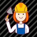 assistente de obra, emprego, job, mason, mulher, pedreira, professions, redheaded woman, ruiva, trabalho, work icon