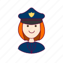 emprego, job, mulher, police officer, policial, professions, redheaded woman, ruiva, trabalho, work icon