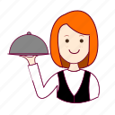 emprego, garçonete, job, mulher, professions, redheaded woman, ruiva, trabalho, waitress, work icon