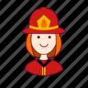 .svg, bombeira, emprego, fire, firefighter, fogo, job, mulher, professions, redheaded woman, ruiva, trabalho, work icon