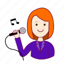 .svg, cantora, emprego, job, mulher, professions, redheaded woman, ruiva, singer, trabalho, work icon