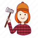 .svg, emprego, job, lenhadora, mulher, professions, redheaded woman, ruiva, trabalho, woodcutter, work icon