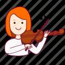 emprego, job, mulher, musician, musicista, professions, redheaded woman, ruiva, tocar violino, trabalho, violin, work