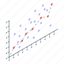 analysis, business, cartoon, data, isometric, money, regression icon