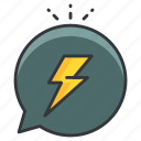 angry, communication, conversation, lightening bolt, storm icon