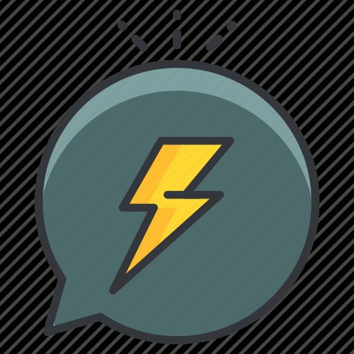 angry, communication, conversation, lightening bolt, storm icon