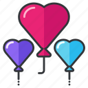 balloons, decoration, heart, love, relationship, wedding icon