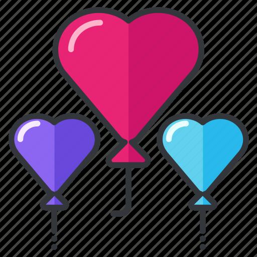 balloons, decoration, heart, love, relationship, wedding icon