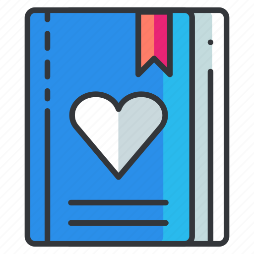 book, bookmark, heart, love, relationship, textbook icon