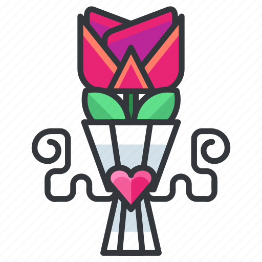 bouquette, flower, love, marriage, relationship, rose, wedding icon