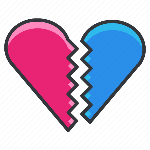 break, breakup, heart, love, relationship, sad, up icon